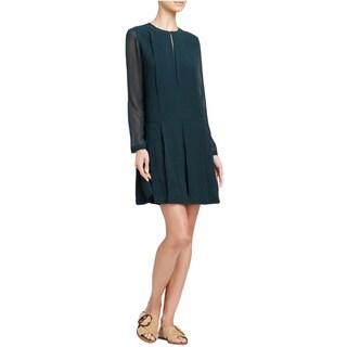 Tory Burch Green Pleated Silk Dress (Size 14)