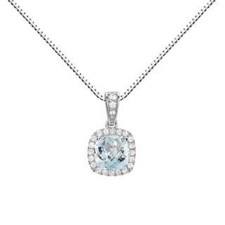 Sterling Silver Checkerboard Cushion Aquamarine and Lab-created White Sapphires Halo Pendant Necklace