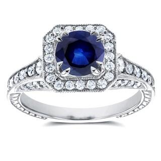 Annello 14k White Gold Sapphire and 3/5ct TDW Diamond Halo Antique Milgrain Ring (H-I, I1-I2)
