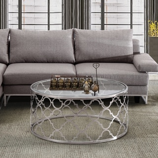 Armen Living Florence Coffee Table in Brushed Silver finish with Clear Glass Top