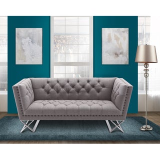 Armen Living Odyssey Loveseat in Brushed Steel finish with Grey Tweed upholstery and Nail heads