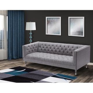 Armen Living Bellagio Sofa in Wash Wood finish and Fabric upholstery