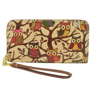 Vintage Owl Print Wallet Wristlet Cell Phone Holder