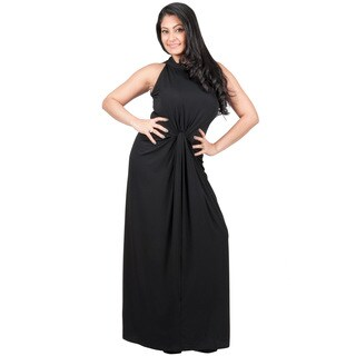KOH KOH Women's Plus Size Sleeveless High Neck Infinity Knotted Maxi Dress
