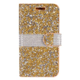 Insten Gold Leather Rhinestone Bling Phone Case Cover for LG K7