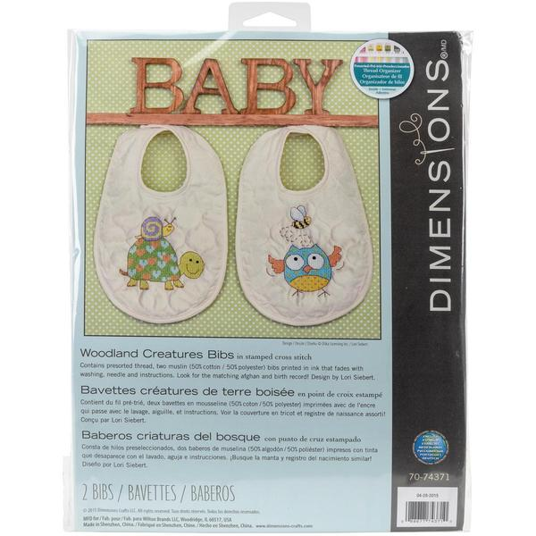 Woodland Creatures Bibs Stamped Cross Stitch Kit - Set Of 2
