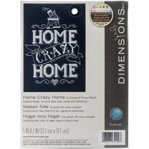 Home Crazy Home Mini Counted Cross Stitch Kit - 5 X7 14 Count