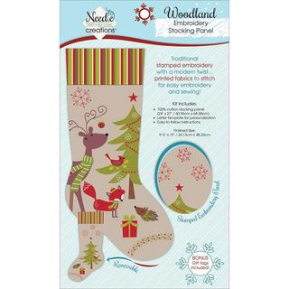 Christmas Stocking Panel For Embroidery - Woodland Creatures