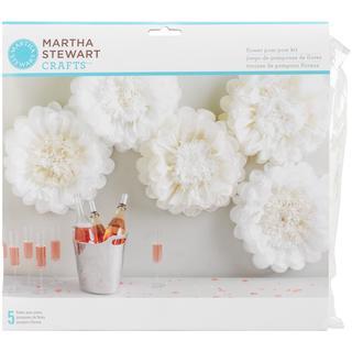 Tissue Paper Pom-Pom Kit Makes 5 - White Flowers