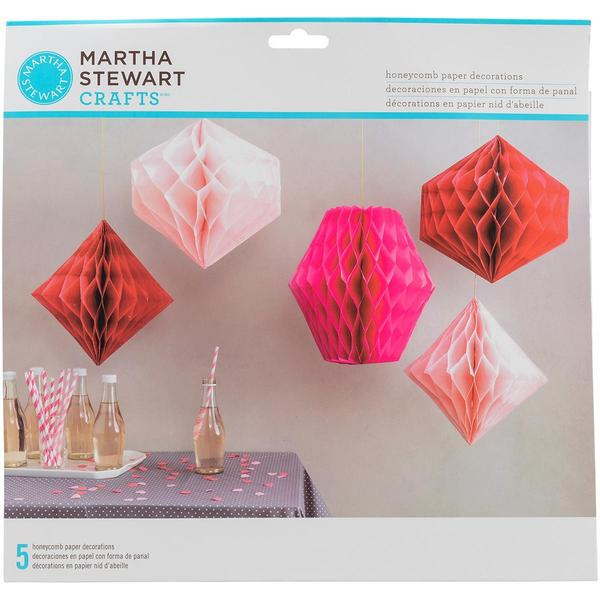 Honeycomb Paper Decorations Makes 5 - Pink