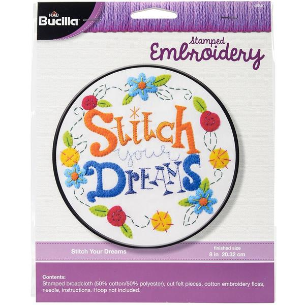 Stitch Your Dreams Stamped Cross Stitch Kit - 8 Round