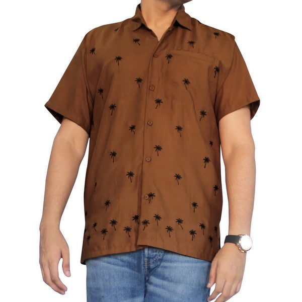 Men's Brown Smooth Black Palm Tree Print Beach Shirt 18084590