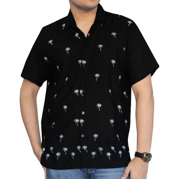 Men's Black Smooth Rayon White Palm Tree Button-down Shirt 18084670
