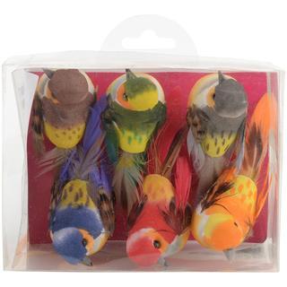 Artemio Small Birds On Clip 3.2 X2 6/Pkg - Assorted Colors