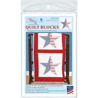 Stamped White Quilt Blocks 18 X18 6/Pkg - American Star