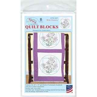 Stamped White Quilt Blocks 18 X18 6/Pkg - Wild Flowers