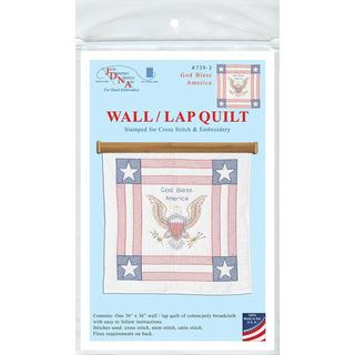 Stamped White Wall Or Lap Quilt 36 X36 - God Bless America
