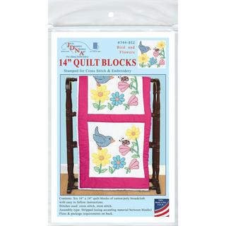Stamped White Themed Quilt Blocks 14 X14 6/Pkg - Bird And Flowers
