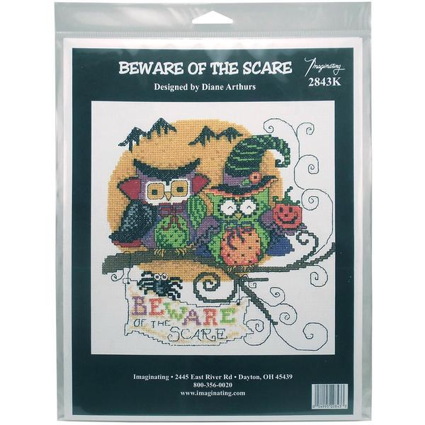 Beware Of The Scare Counted Cross Stitch Kit - 5.5 X5.75 14 Count