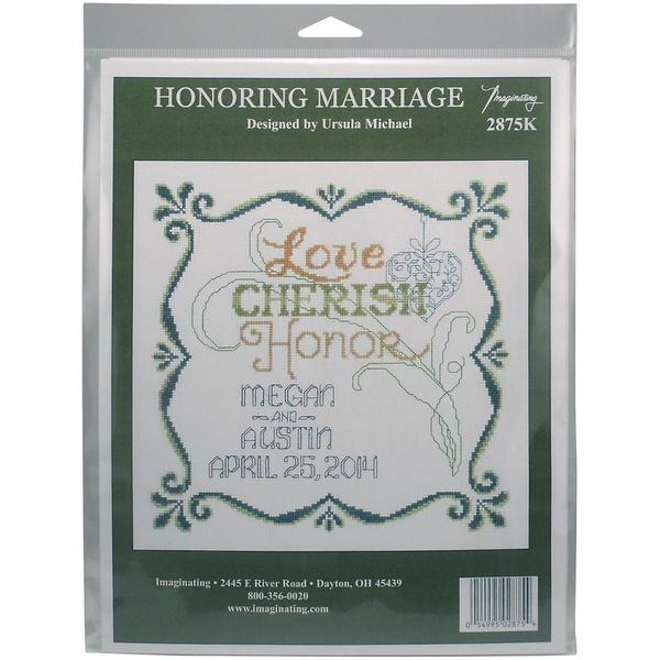Honoring Marriage Wedding Record Counted Cross Stitch Kit - 9.5 X9.5  14 Count 18084990