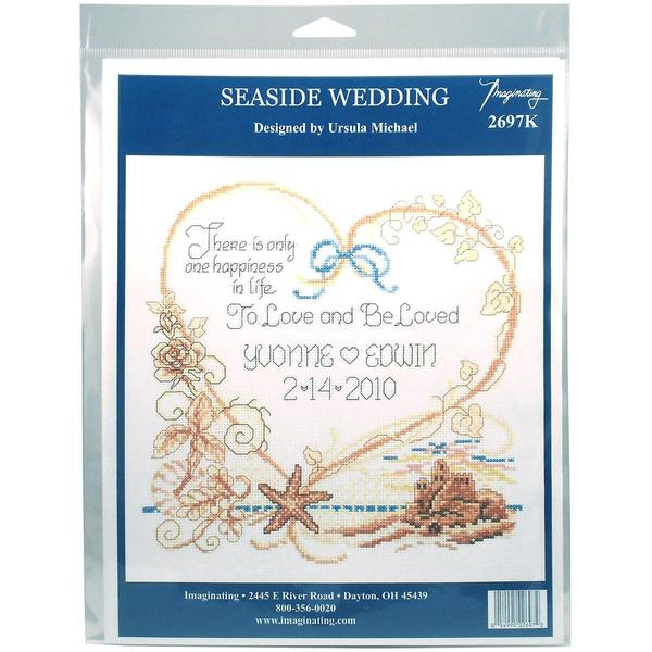 Seaside Wedding Wedding Record Counted Cross Stitch Kit - 7.5 X8  14 Count 18084999