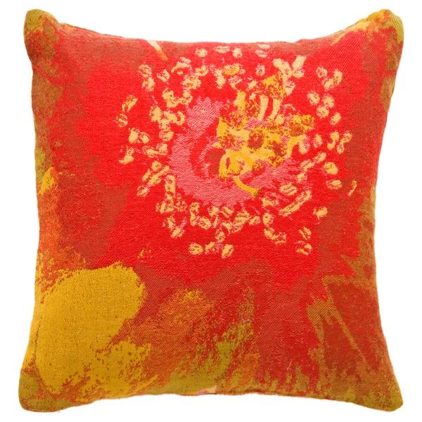 Botanical Red Flower Throw Pillow
