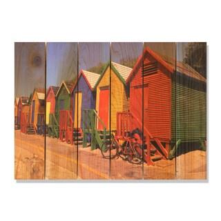 Colored Cabanas 33x24 Indoor/ Outdoor Full Color Cedar Wall Art