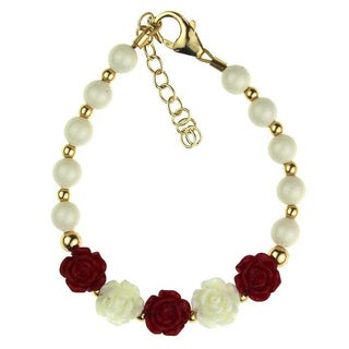 Flower Girl White Pearls with Gold Beads and Red Flowers Baby Bracelet