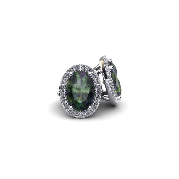 14k White Gold 1 1/4 TGW Oval Shape Mystic Topaz and Halo Diamond Stud Earrings 18086065
