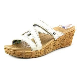 Crocs Women's 'A-Leigh Mini Wedge' Leather Sandals