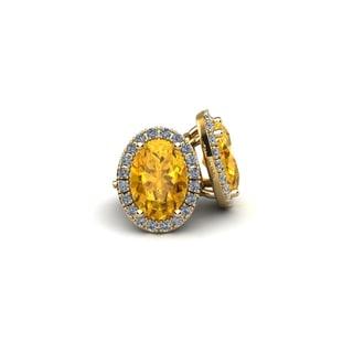 14k Yellow Gold 1ct Oval Shape Citrine and Halo Diamond Stud Earrings