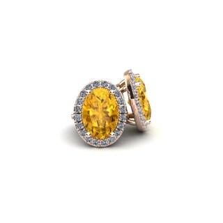 14k Rose Gold 1ct Oval Shape Citrine and Halo Diamond Stud Earrings
