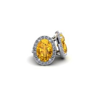 10k White Gold 1ct Oval Shape Citrine and Halo Diamond Stud Earrings