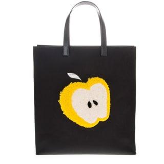 Fendi Shearling Apple Flat Leather Top Handle Tote Bag