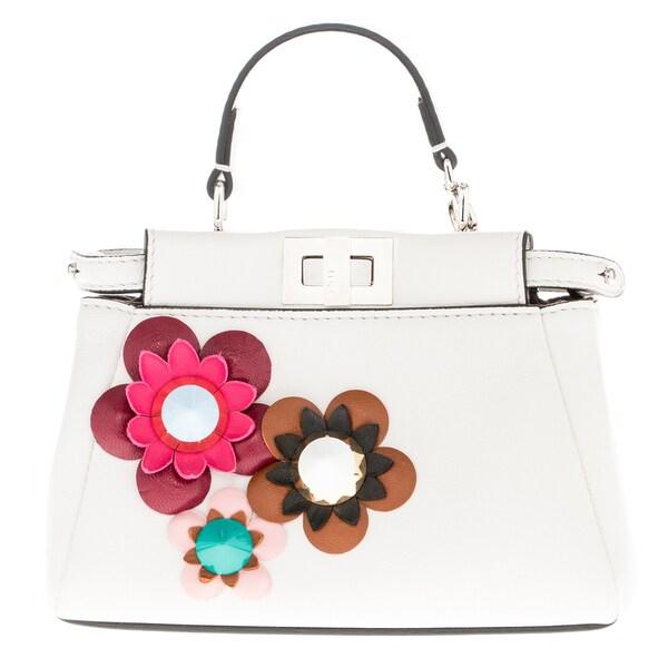 Fendi Micro \u0026#39;Peekaboo\u0026#39; Floral Embellished Satchel - 18588110 ...