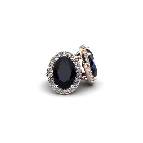 10k Rose Gold1 1/3ct Oval Shape Sapphire and Halo Diamond Stud Earrings In 10k Rose Gold