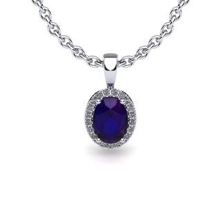 14k White Gold 1/2ct Oval Shape Amethyst and Halo Diamond Necklace with 18-inch Chain