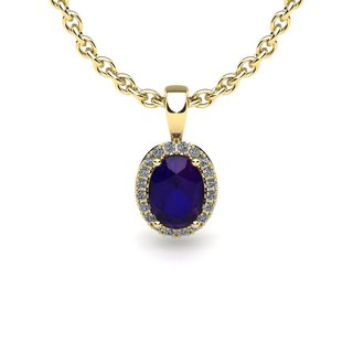 14k Yellow Gold 3/4ct Oval Shape Amethyst and Halo Diamond Necklace with 18-inch Chain