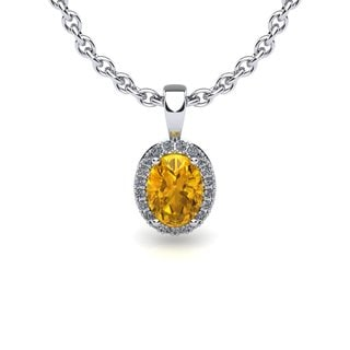 14k White Gold 1/2ct Oval Shape Citrine and Halo Diamond Necklace with 18-inch Chain