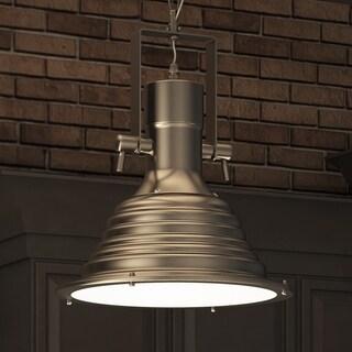 Vonn Lighting Dorado 11-inches LED Pendant Light Adjustable Hanging Industrial Pendant Lighting with Ribbing in Satin Nickel