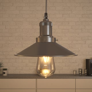 Vonn Lighting Delphinus LED Pendant Light Adjustable Hanging Industrial Pendant Lighting with LED Filament Bulb in Satin Nickel