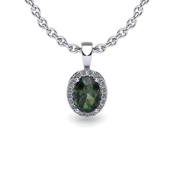 14k White Gold 3/5 TGW Oval Shape Mystic Topaz and Halo Diamond Necklace with 18-inch Chain 18086605