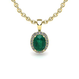 10k Yellow Gold 1/2ct Oval Shape Emerald and Halo Diamond Necklace with 18-inch Chain