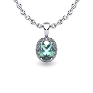 14k White Gold 1/2ct Oval Shape Green Amethyst and Halo Diamond Necklace with 18-inch Chain