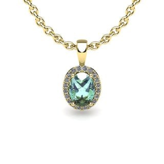 14k Yellow Gold 1/2ct Oval Shape Green Amethyst and Halo Diamond Necklace with 18-inch Chain