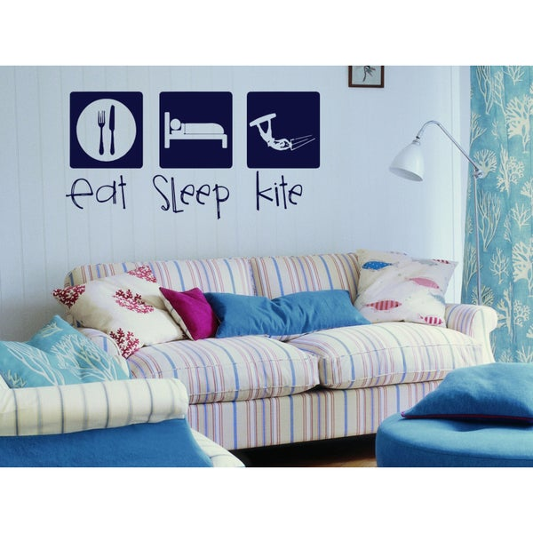 Eat Sleep kite Wall Art Sticker Decal Blue