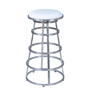 Armen Living Ringo Bar or Counter Height Barstool in Brushed Stainless Steel finish with White PU upholstery