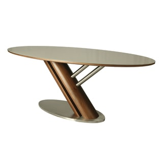 Judith Stainless Steel and Walnut Veneer Oval Dining Table