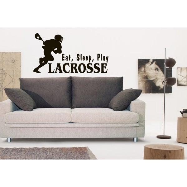 Eat Sleep Play Lacrosse Wall Art Sticker Decal Brown