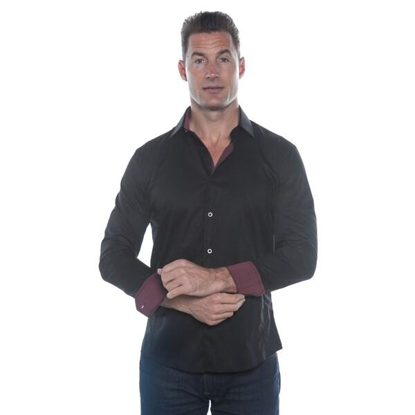 Isaac B. Black Solid Long Sleeve Red Cuffs Button Down Shirt